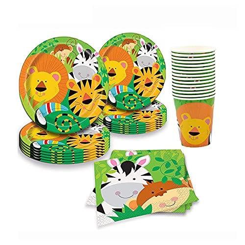 CAKEY Juego de vajilla de papel para decoración de vajilla, 88 unidades, diseño de animales de safari, platos de papel, tazas y servilletas para baby shower, decoraciones de cumpleaños