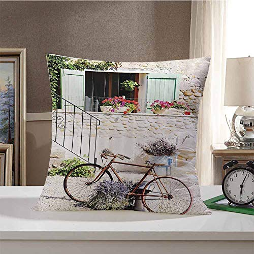 Bicycle Hypoallergenic Plush Decor Pillows European French Mediterranean Rural Stone House with Bike Countryside Provence Day Photo Pillow Cover Cushion Case for Sofa 16 x 16 Inch Multi