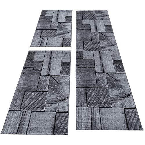 HomebyHome Teppich Bettumrandung Kurzflor Läuferset 3 Teile Schlafzimmer Dielen Optik Grau, Bettset:2 x 80x150 cm + 1 x 80x300 cm