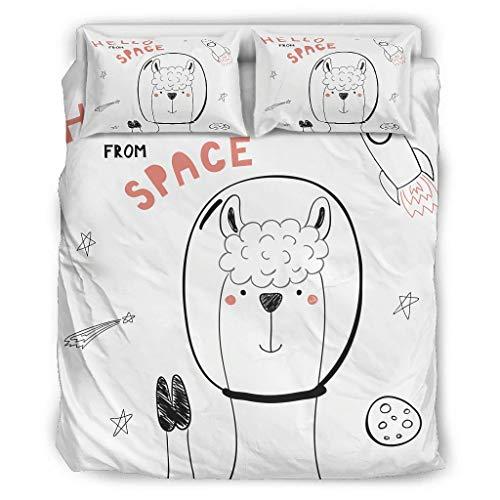 Space Alpaka Vierteiliges Bett Cal King Bettwäsche Vier Sätze mit Reißverschluss Enthalten Strapazierfähig 1 Bettbezug & 1 Bettdecke & 2 Kopfkissenbezüge White 228x264cm