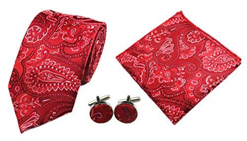 Herren Krawatten-Set mit Krawatte, Manschettenknöpfen, Einstecktuch, quadratisch, gestreift - Rot - Einheitsgröße
