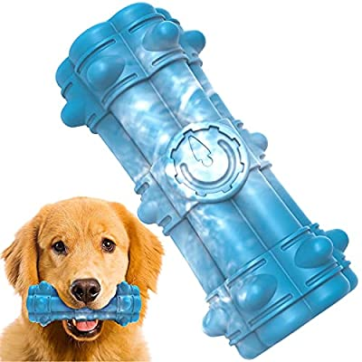 PETSYPAW Squeaky Rubber Dog Toy for Aggressive Chewers - Almost Indestructible Tough Dog Toys for Medium and Large Breed - Relieves Anxiety and Dental Care (Marble Blue)