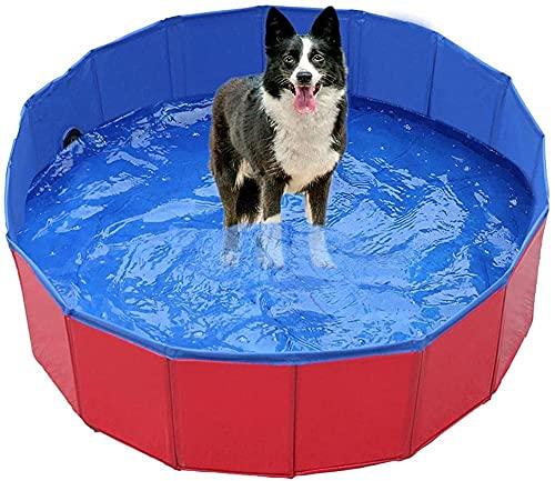MISS KANG Faltbare Hundepolsterung Pool - Großer Haustier Swimmingpool Badewanne mit Pfoten Druck im Freien Badewanne zusammenklappbar für große Hunde und Kinder -80x30cm_red Qingchunw