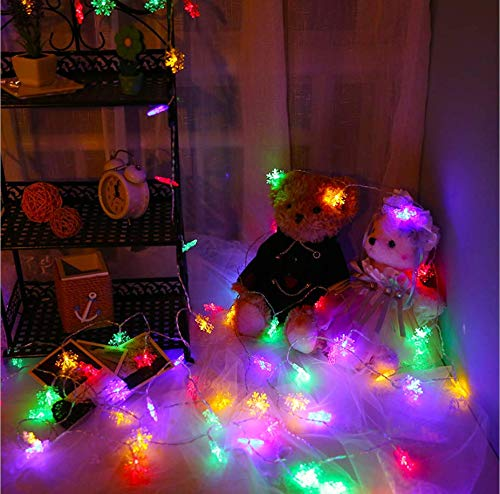 Luces de cadena de copo de nieve, luces led, luces de estrella, enchufe USB, luces LED de hada de luciérnaga, luces LED de red, luces luces de red, 4.5m, color