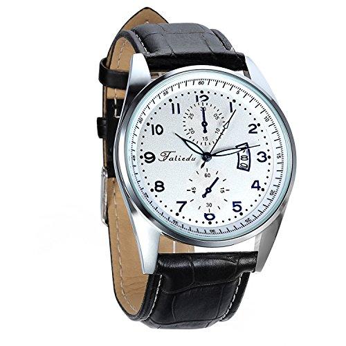 Avaner Herren Kalender Uhr Analog Quarzwerk mit Leder Armband Arabische Ziffern Schwarz Avaner 01P-38