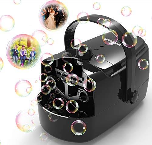 Zerhunt Bubble Machine Durable Automatic Bubble Blower for Kids Operated by Plug in or Battery with 2 Speed Level Black