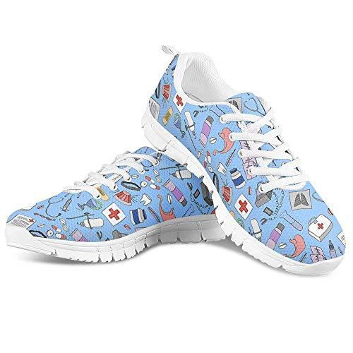Polero - Zapatillas deportivas, para enfermeras con dibujos animados de oso, para hombre y mujer con cordones, transpirables, para correr, zapatos deportivos, 36 - 45 UE, color Azul, talla 37 EU