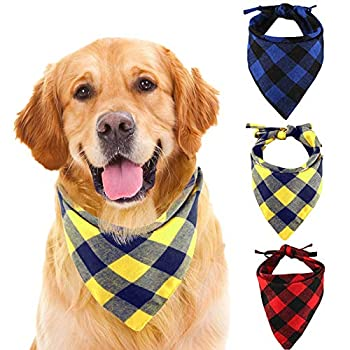 SLSON Dog Bandanas, Set of 3 Washable and Adjustable Scarves Triangular Bib Scarves, 78cm for Small,Medium, Large Dogs and for Pet Costume Accessories