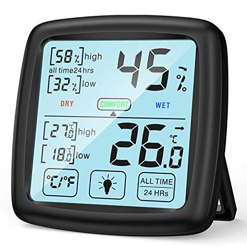 NIXIUKOL Termometro Ambiente Igrometro Digitale Interno Professionale Termoigrometro con Ampio Touch Screen, Indicatore di Comfort, Misuratore umidità per Casa Ufficio Stanza del Bambino Nero