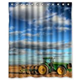 Custom Unique Design cool old tractor Waterproof Bathroom Polyester Fabric Shower Curtain 60(w)x72(h)