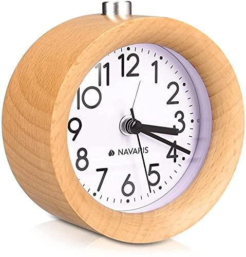 dh-10 Reloj despertador de madera retro con función de repetición y luz de alarma para la cara, madera natural en color marrón claro