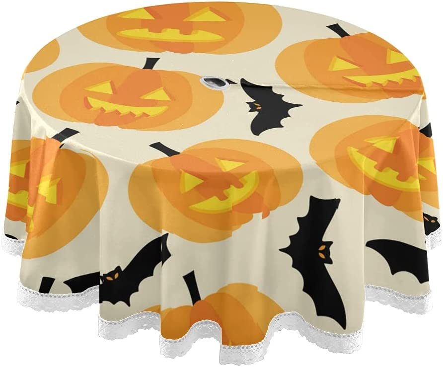 STAYTOP Dealing full price reduction 60in Halloween Tablecloth Funny Bat and Free shipping / New Grimace Pumpkins