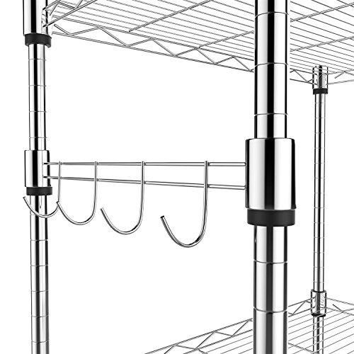 Homdox 5 Tier Steel Wire Shelving Unit on Wheels,Chrome Shelves for Garage Kitchen Living Room,Heavy Duty Shelving Rack, 23.2 x 13.8 x 72 inch (L x W x H)