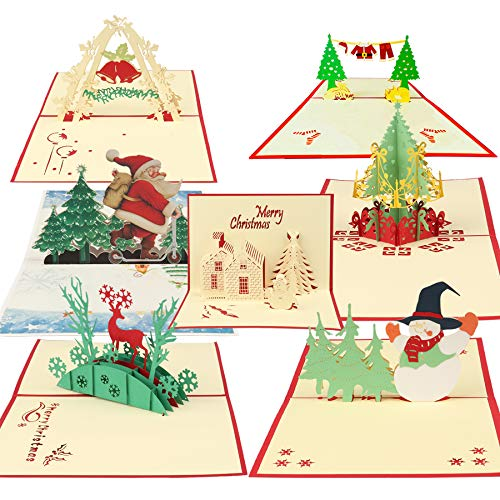 Happy Will 3D Christmas Cards Xmas Pop Up Cards,Handmade Thank You Greeting Cards with 7 Envelopes for Holiday Christmas Valentine Day Gifts PostCards New Year(7Pcs,A)