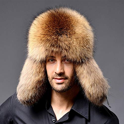 Tuzi Qiuge Winter Fuchs Haar Leifeng Männer Hüte, Dicke warme mittlere und alte Menschen Ohrschutz Winterpelzhut QiuGe (Color : Khaki)