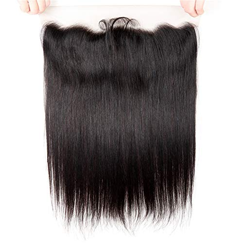 West Kiss Brazilian Straight Hair 13'x4' Lace Frontal With Baby Hair Free Part Human Hair Extensions Natural Color (14 inches lace frontal)