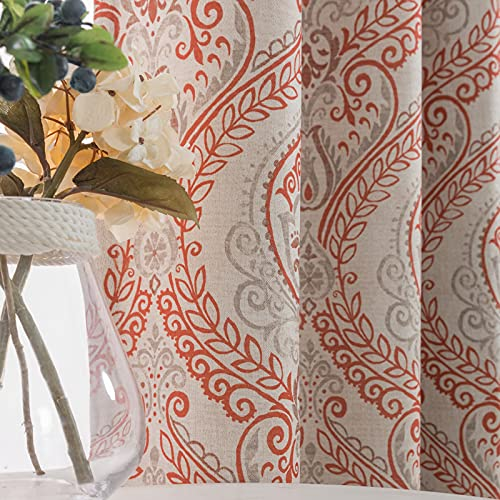 Linen Textured Curtains for Bedroom Damask Printed Drapes Vintage Linen Look Medallion Curtain Panels Red Window Treatments Room Darkening for Living Room Patio Door 2 Panels 84 Inch Terrared