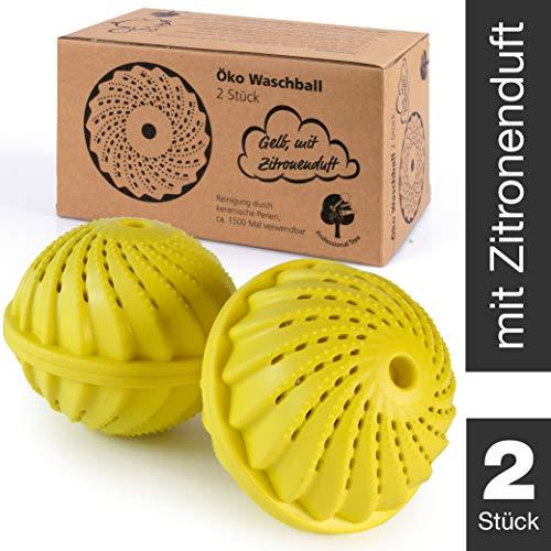 ProfessionalTree Waschball für Waschmaschine - 2 Stück - Waschkugel mit Keramikperlen - Waschen ohne Waschmittel - Gelber Öko Waschball mit Zitronenduft