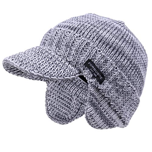 VECRY Kids Slouchy Beanie Winter Hat Cute Boys Girls Children Knitted Skull Cap (Visor-Pale)