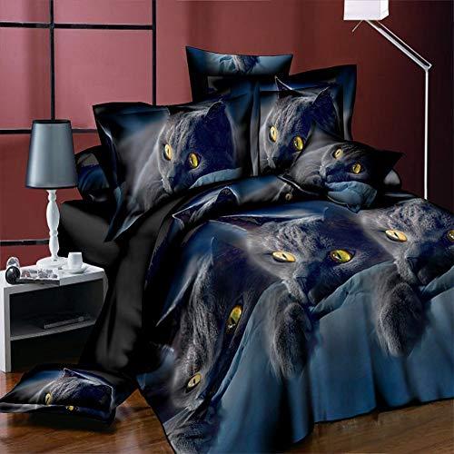 XuBa Bettwäsche-Set mit 3D-Katzenmotiv, Bettdeckenbezug, Kissenbezug, Bettwäsche, Dekoration, Winter, bequem, 2-teilig / 3-teilig Twi Two-piece Suit