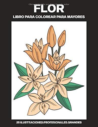 Flor Libro para Colorear para Mayores: Libro para colorear para Mayores fácil de llenars, 25 ilustraciones profesionales para aliviar el estrés y relajarse (Flores Paginas para Colorear)
