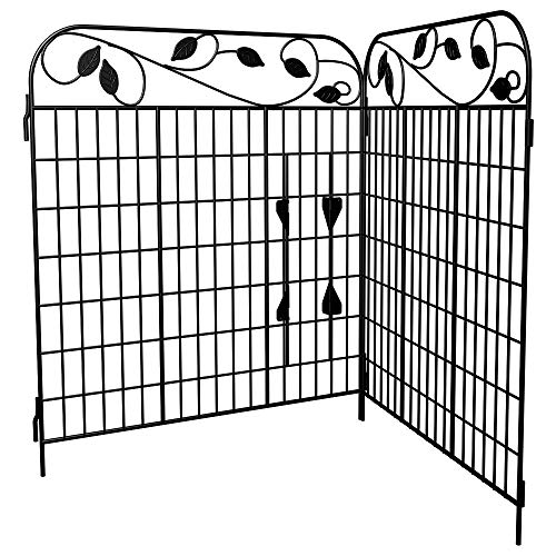 Amagabeli Decorative Garden Fence 44in x 6ft Outdoor Rustproof 2 Pack Metal Landscape Fencing Wrought Iron Wire Gate Border Edge Folding Patio Flower Bed Animal Barrier Section Edging Black FC07