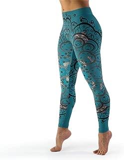 Women Compression Fitness Yoga Legging Teal Mandala Print Skinny Pants Non See-Through Fabric