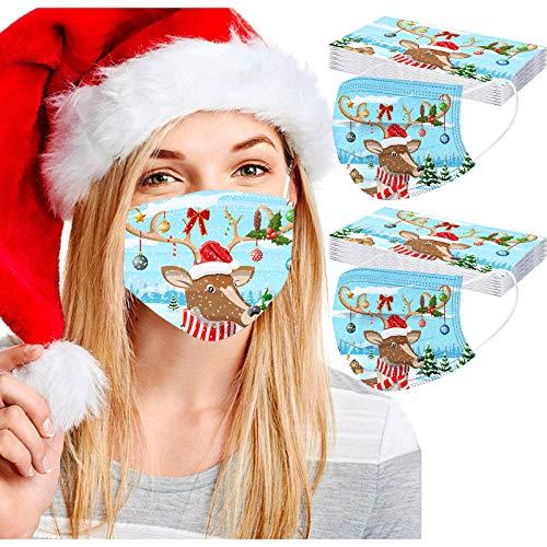 Henri 20 Stück Einweg-Masken, für Erwachsene, Weihnachtsmotiv, dreilagig, Schutz für Frauen, Männer und Weihnachten, Partyzubehör Gr. Einheitsgröße, D.