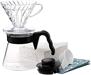 Hario V60 Size 02 Pour Over Starter Set with Dripper, Glass Server, Scoop and Filters, Black