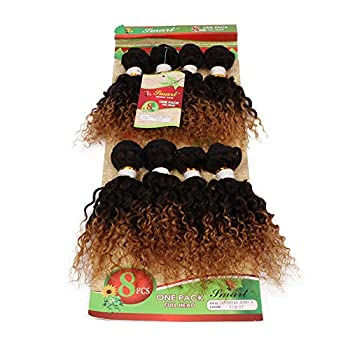 Eunice Hair Short Style Brazilian Kinky Curly Human Hair Weaving 8 Bundles 8 Inches Jerry Curl Synthetic Weft Hair T1B/27