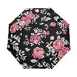 Suzanne Betty - Paraguas de viaje con cierre automático, diseño de hojas de rosas rojas sobre fondo negro, 3 pliegues resistente al viento UV automático paraguas
