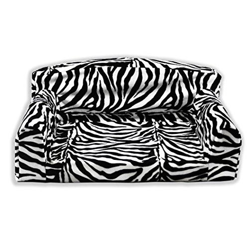 Animal Optic Zebra Pet Sofa. 3 sizes Dog bed cover material. Made in UK (Large 96cm x 64cm x 34cm)