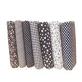 Topker 7pcs / Set Tela de algodón para el Tejido de Costura de Costura de remiendos Textil de casa Rosa Serie Tilda paño de Cuerpo de muñeca (Rosado) (Rosado) (Azúl Marino, 25x25cm)