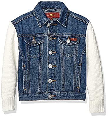 7 For All Mankind Girls' Big Denim with Sweater Sleeve Jacket, Perennial, M