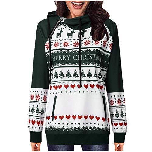 Damen Winter-Pullover, Weihnachten, bedruckt, Hoodie, Mädchen, Patchwork, modisch, Top, für Weihnachten, Alltag L grün
