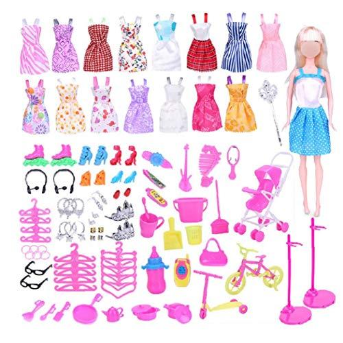 lujiaoshout 114 Piezas de joyería y Accesorios de Ropa para muñecas Juego de Ropa para la muñeca de Barbie de alimentación con los Vestidos Ocasionales Zapatos Bolsas de 11,5 Pulgadas muñeca