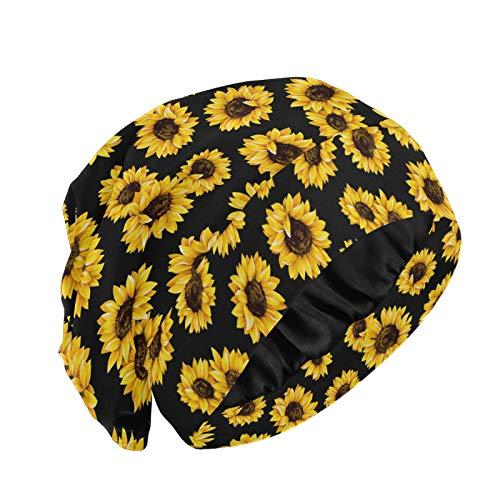 Sunflower Satin Lined Bonnet Sleep Cap, Sunflower Black Background Hair Wraps for Women, Adjustable Elastic Head Scarf for Sleeping