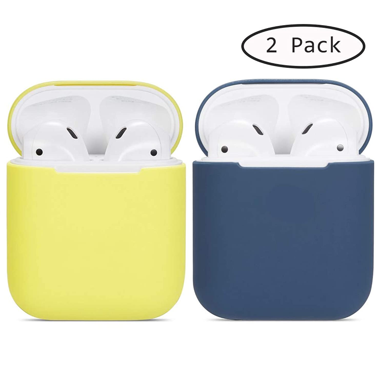 Compatible Airpods Case, 2 Pack Protective Ultra-Thin Soft Silicone Shockproof Non-Slip Protection Accessories Cover Case for Apple Airpods 2 & 1 Charging Case - Yellow+Blue