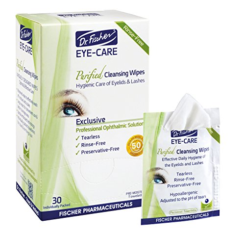 Dr. Fischer Premium, Purified, Non-Irritating & Hypoallergenic Eyelid Wipes– Pre-moistened for complementary treatment of Red Eye, Dry Eye, and Blepharitis & Conjunctivitis – Cleanses Make-up (30)