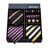 おしゃれ ネクタイ 3本セット[ HISDERN(ヒスデン) ] ネクタイ ブランド プレゼント メンズ 結婚式 ネクタイ チーフ ビジネス用 ネクタイ ストライプ就活 ネクタイ 洗える T3S013