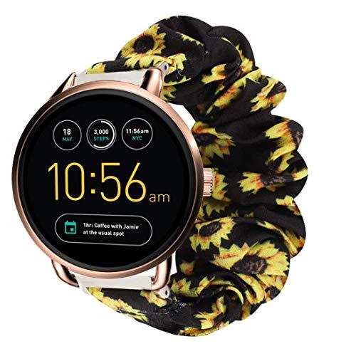 LvBu Armband Kompatibel mit Fossil Q Wander, weiche Haargummis Uhrenarmband für Fossil Q Wander Smartwatch (Sunflower)