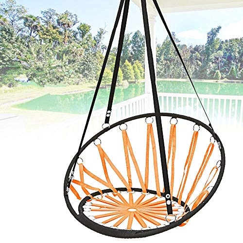 Hammock Chair Handmade Knitted Round Hammock Dormitory Bedroom Children Swing Bed Decor Garden Hammock Chair (Color : Orange, Size : 135x65cm)
