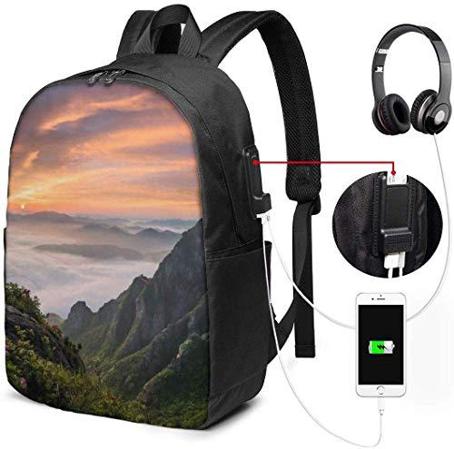 Rucksack mit USB-Schnittstelle Natural Landscape Waterproof Laptop Backpack with USB Charging Port Headphone Port Fits 17 Inch Laptop Computer Backpacks Travel Daypack School Bags for Men Women