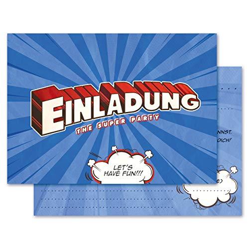 Any Age Art Super 12 Einladungskarten - Kindergeburtstag Einladungen Kinder Jungen Geburtstag Karten Feier Party Game (12 Einladungskarten)