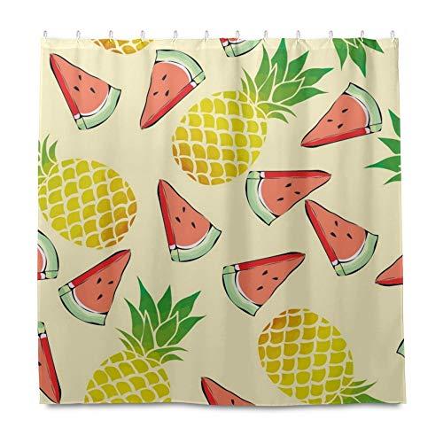 RELEESSS Duschvorhang Obst Ananas Wassermelone Wasserdicht Badezimmer Gardinen mit Haken 182 x 182 cm