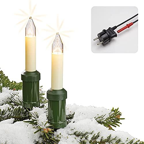 Hellum Lichterkette Made-in-Germany Weihnachtsbaum, Kerzen Lichterkette außen mit Clip, 30 Lichter, beleuchtete Länge 2900cm, Kabel grün Schaft elfenbeinfarben, für Außen mit Stecker 845603
