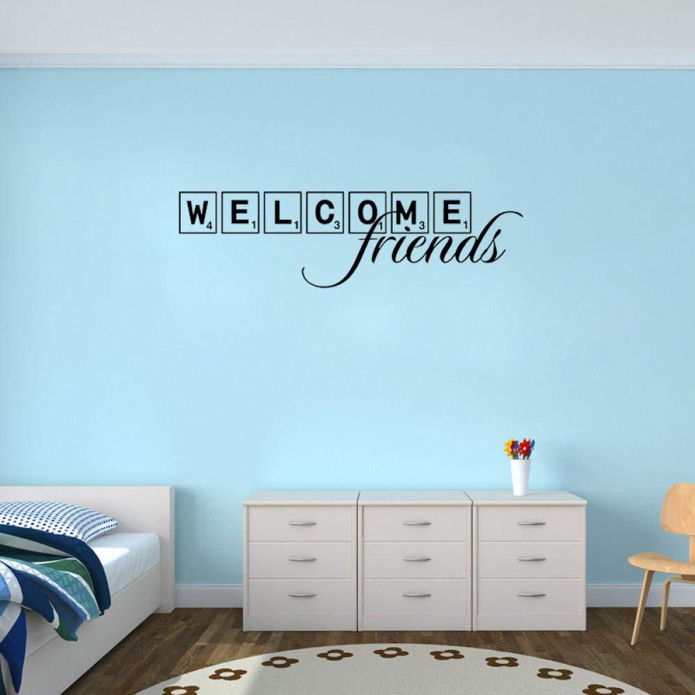Bienvenidos amigos Scrabble Tile Art Home Stickers PVC Decoración de pared 76CM * 19.1CM: Amazon.es: Bricolaje y herramientas