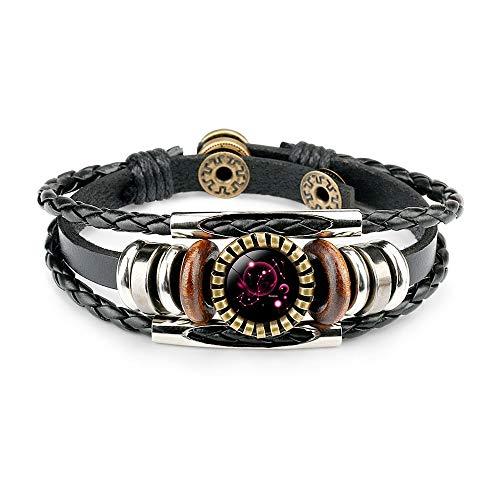 12 Zodiac Constellation Bracelet, Leather Hand-woven Galaxy Astrology Luminous Adjustable Snap Buckle Wristband-retro Fashion (Best Friend's Constellation Gift)