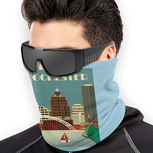 Outdoor Face Mask, Multifunctional Microfiber Rochester New York Sun Wind Dust Protection Neck Gaiter Headwear Cool Breathable for Men Women Cycling, Motorcycling, Running