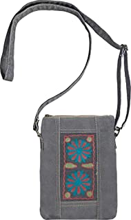 Trendy Vintage Crossbody Recycled Canvas Bag/Purse by Vintage Addiction - Embroidered Flowers Slate Gray